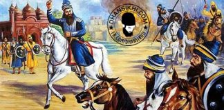Banda Singh Bahadur leading Sikh Force at Sirhind web
