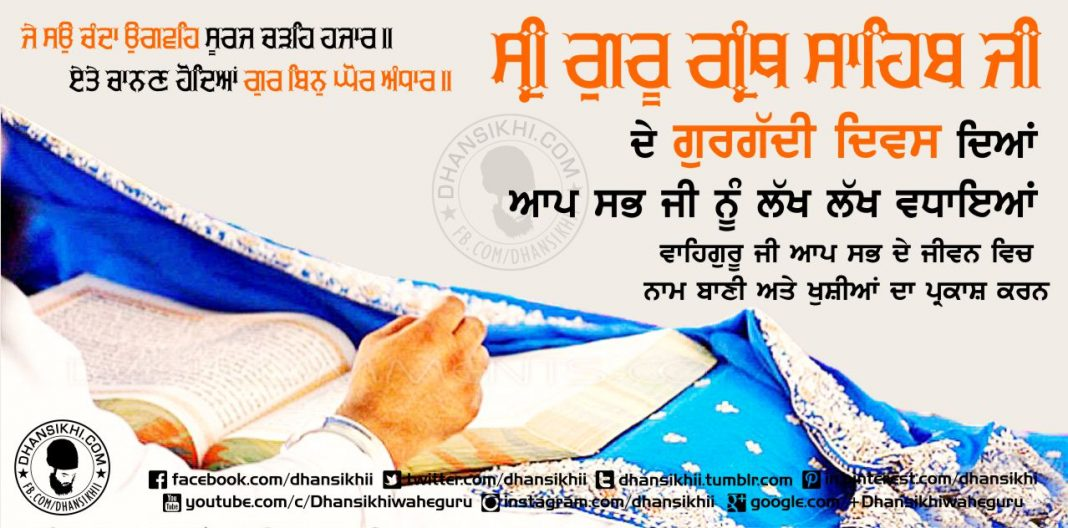 Event Greetings - Gurgaddi Diwas Guru Granth Sahib Ji
