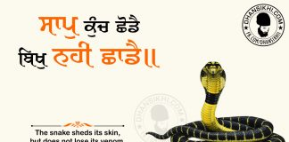Gurbani Quotes - Saap Kunch Shhoddai Bikh